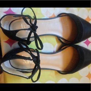 Franco Sarto Black Leather Flats Size 9